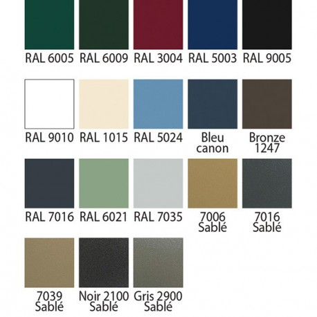 Nuancier Ral 18 Coloris Standards